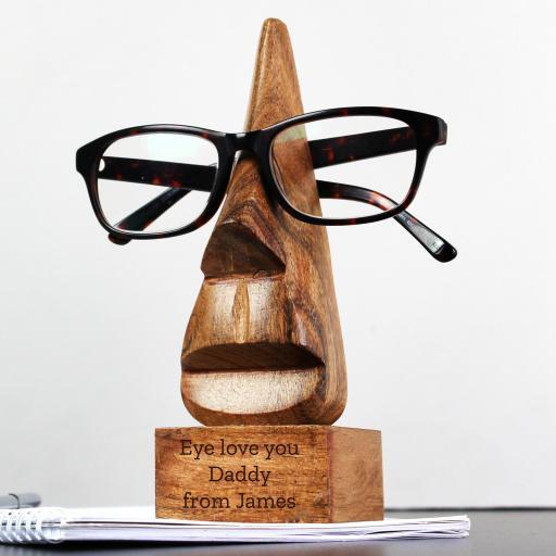 Wooden Nose-Shaped Glasses Holder