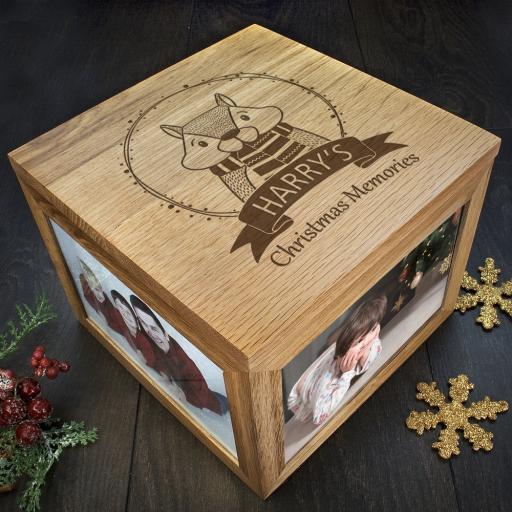 Personalised Woodland Animal Christmas Memory Boxes - Chipmunk