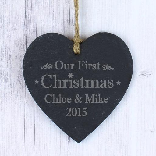 Engraved Our First Christmas Slate Heart