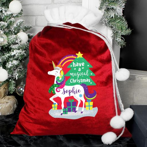 Personalised Christmas Unicorn Sack