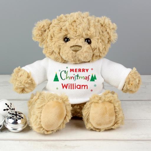 Personalised Merry Christmas Teddy Bear