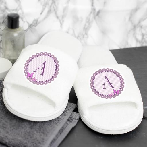 Butterfly Initial Velour Slippers