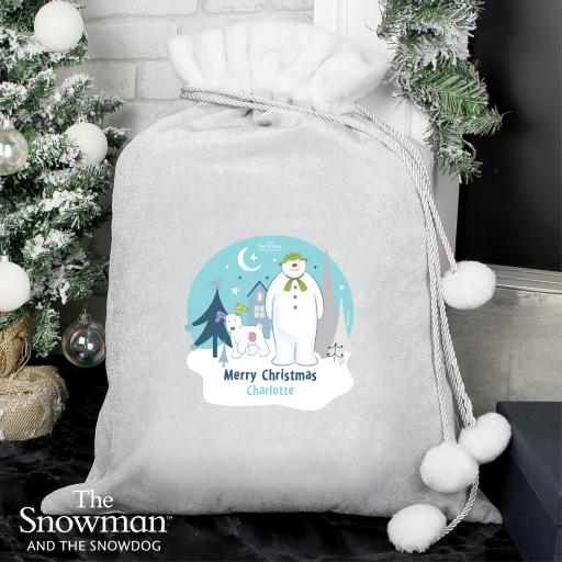 Personalised The Snowman and the Snowdog Christmas Sack