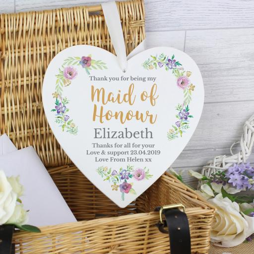 Maid of Honour 'Floral Watercolour ' Heart Decoration