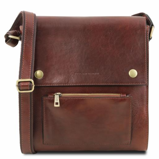 Oliver Leather crossbody bag for men with front pocket
