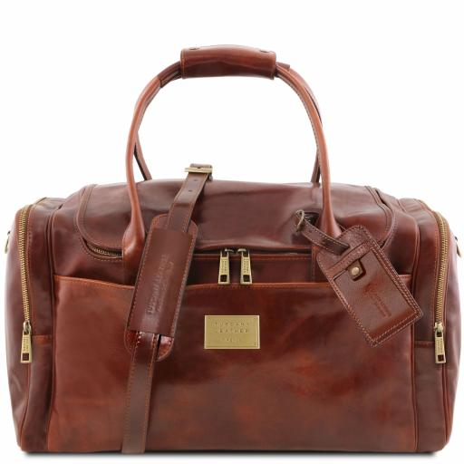 TL Voyager Travel leather bag with side pockets