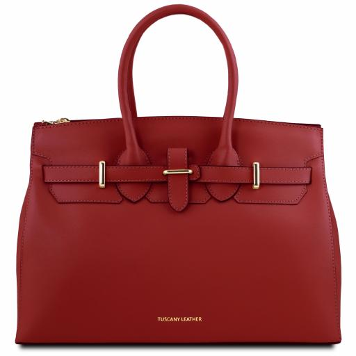 Elettra Leather handbag with golden hardware