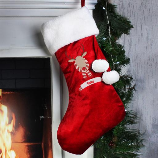 Reindeer Luxury Personalised Christmas Stocking
