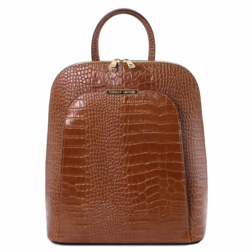 TL Bag Croc print leather backpack for women