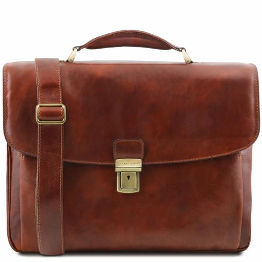 Alessandria Leather multi compartment TL SMART laptop briefcase