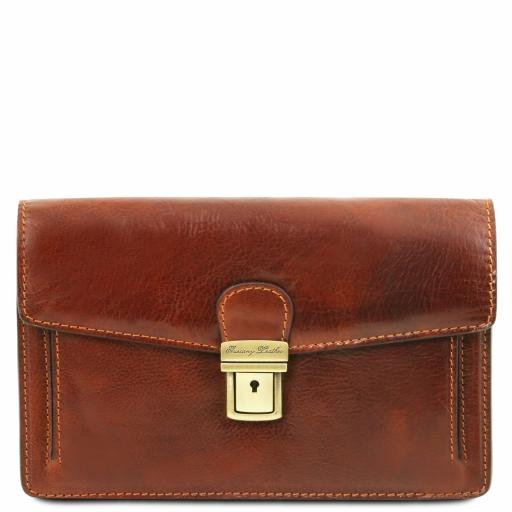 Tommy Exclusive leather handy wrist bag for man