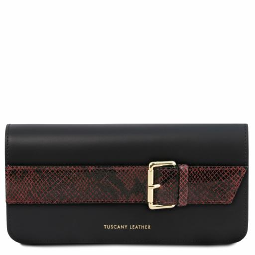 Demetra Leather clutch with chain strap