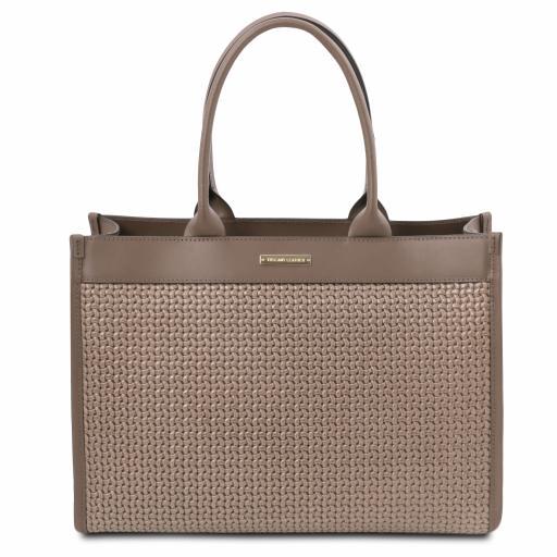 TL Bag Woven printed leather shopping bag