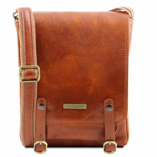 Roby Leather crossbody bag for men with front straps