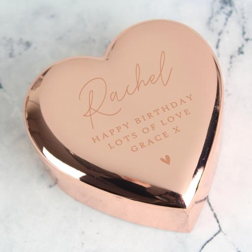 Rose Gold Personalised Heart Trinket Box