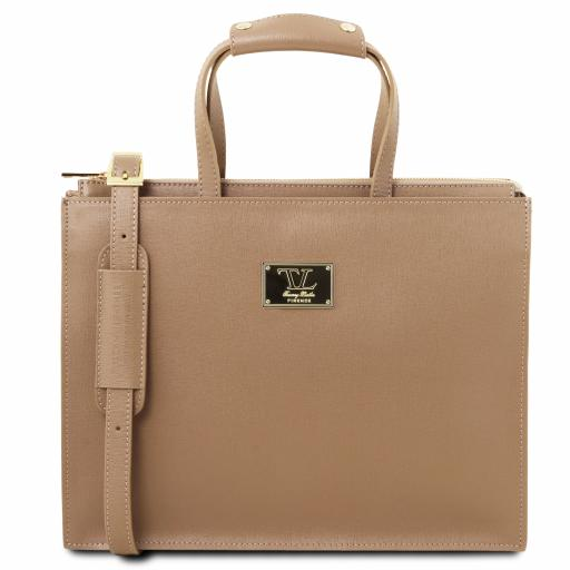 Palermo Saffiano Leather briefcase 3 compartments for women