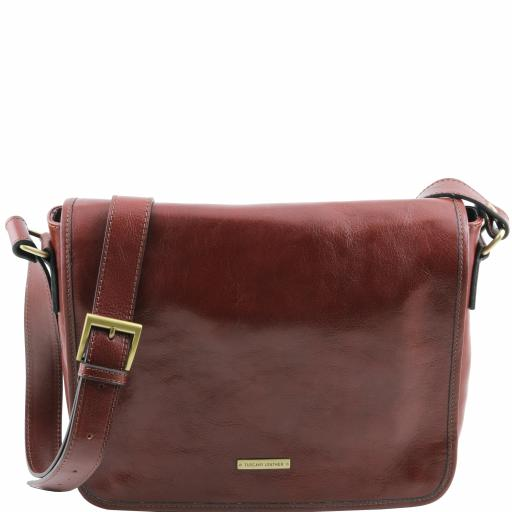 TL Messenger One compartment leather shoulder bag - Medium size
