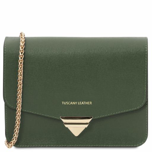 TL Bag Saffiano leather clutch with chain strap