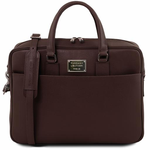 Urbino Saffiano leather laptop briefcase with front pocket