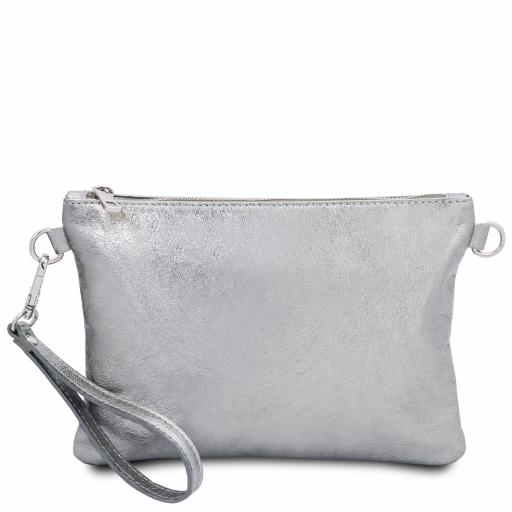 TL Bag Metallic soft leather clutch