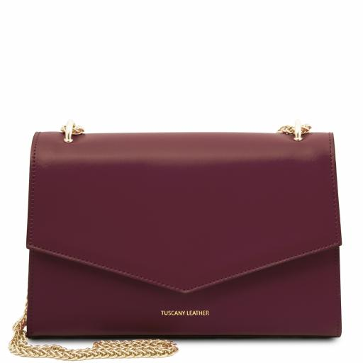 Fortuna Leather clutch with chain strap