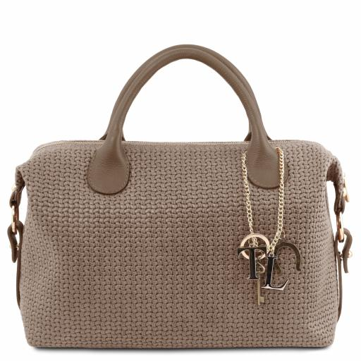 TL KeyLuck Maxi duffle bag in woven printed leather