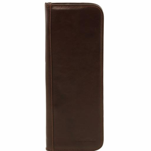 Elegant leather travel tie holder