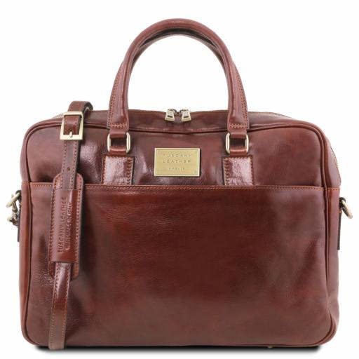 Urbino Leather laptop briefcase 2 compartments with front pocket