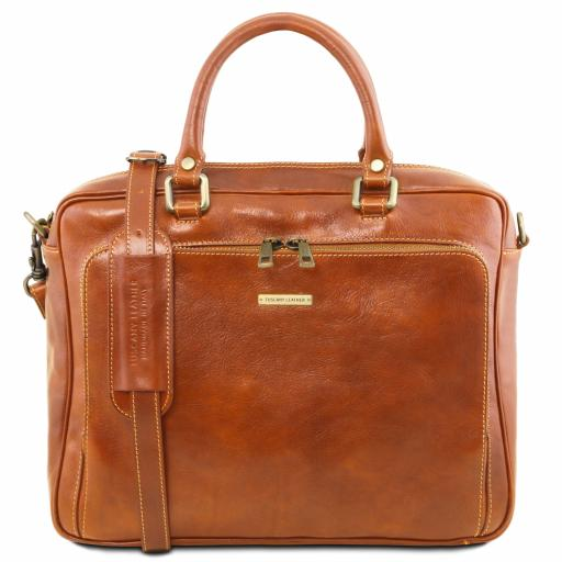 Pisa Leather laptop briefcase with front pocket