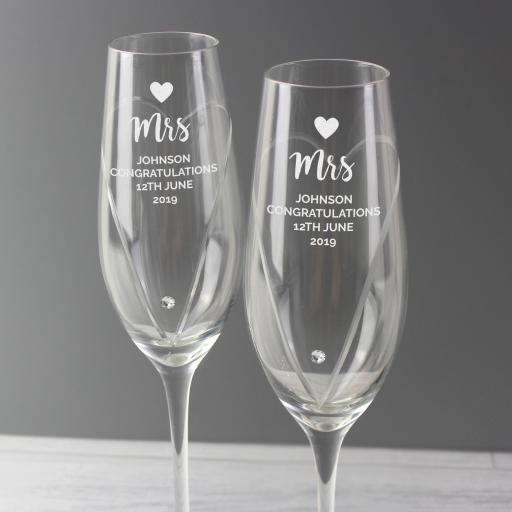 Hand Cut Heart Champagne Flutes with Swarovski Details