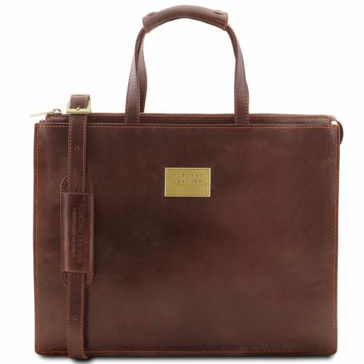 Palermo Leather briefcase 3 compartments for women